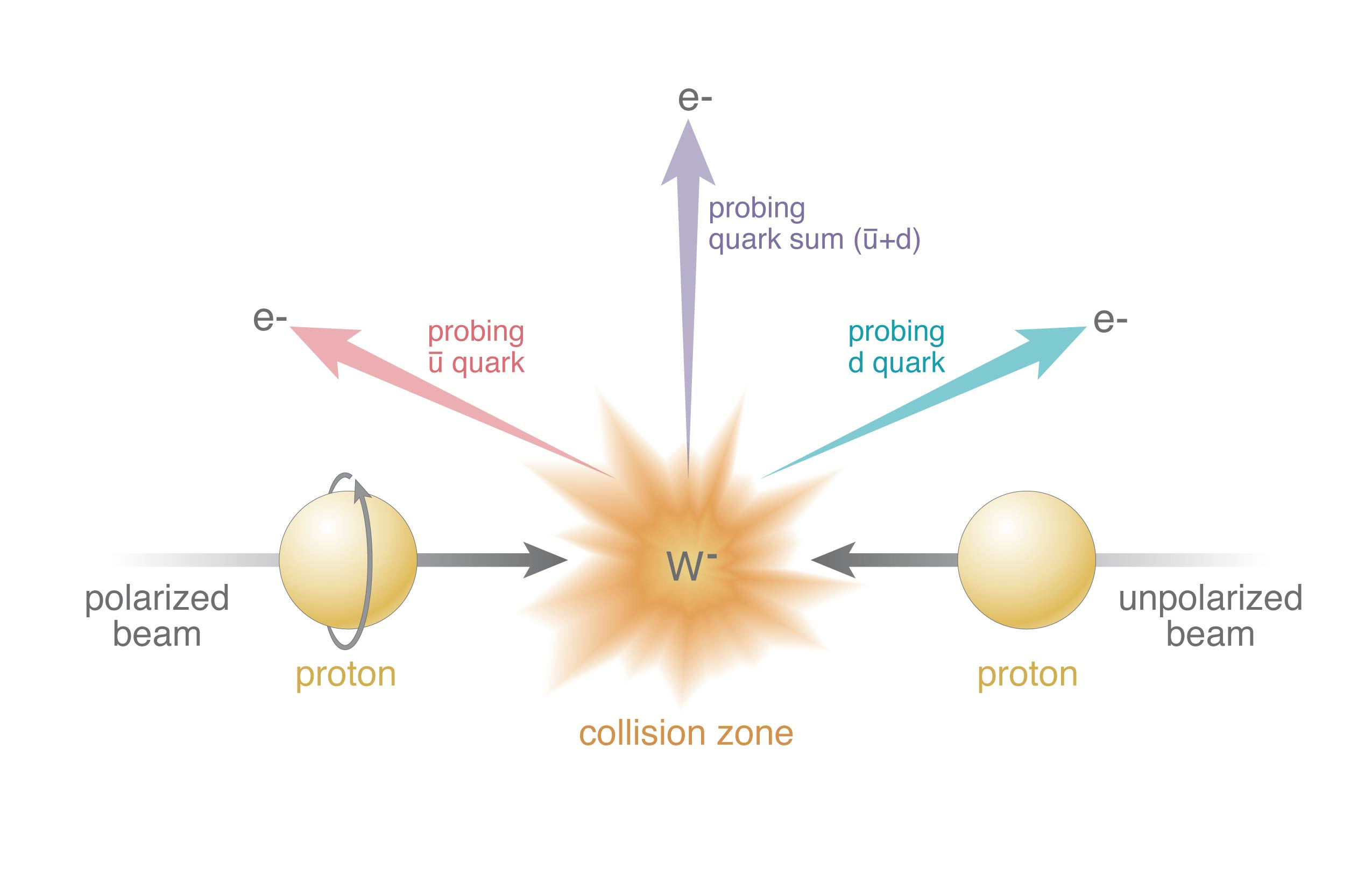 An illustration showing a proton spin puzzle