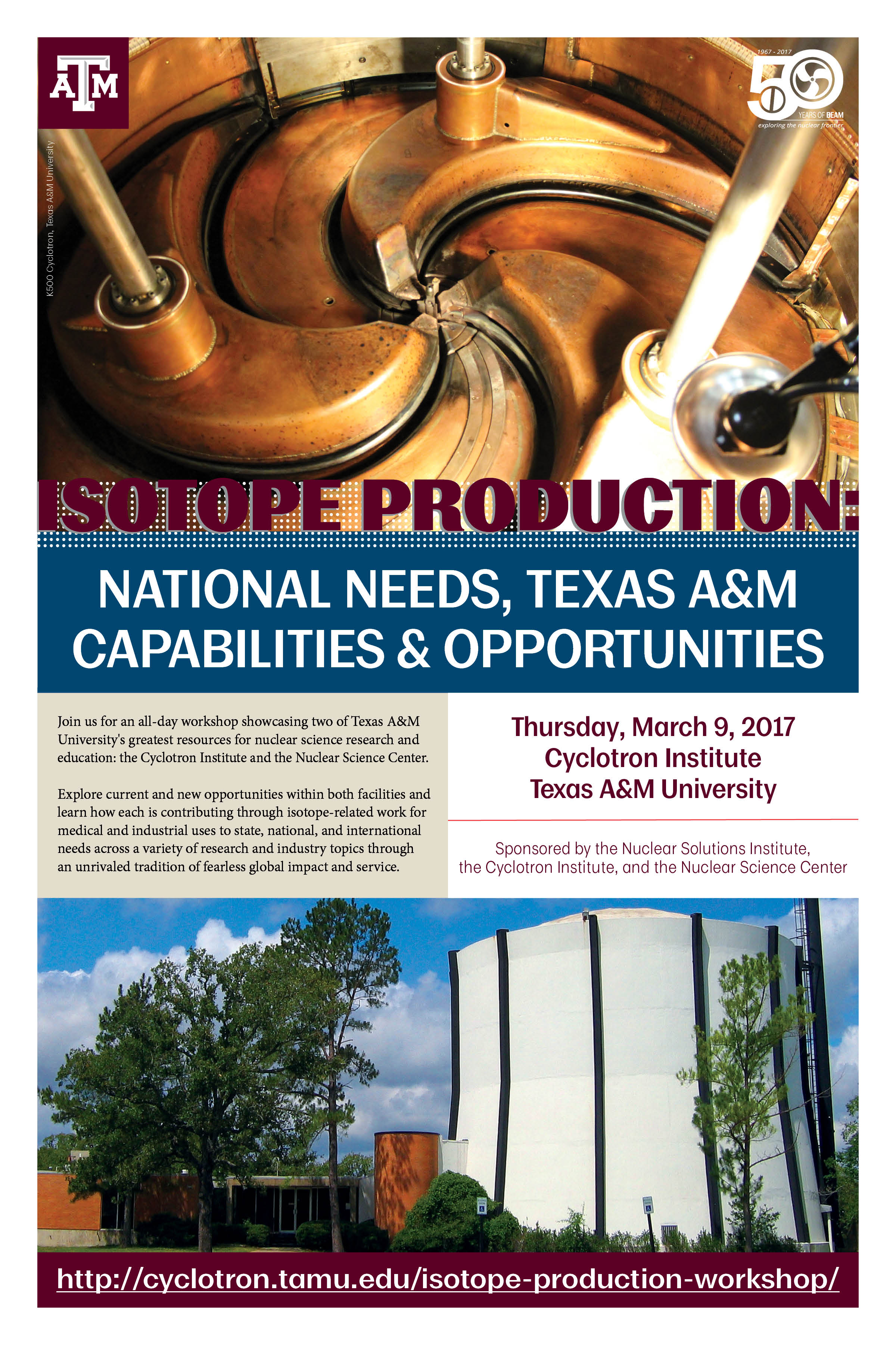 Poster featuring Cyclotron images to promote the Isotope Production Workshop event