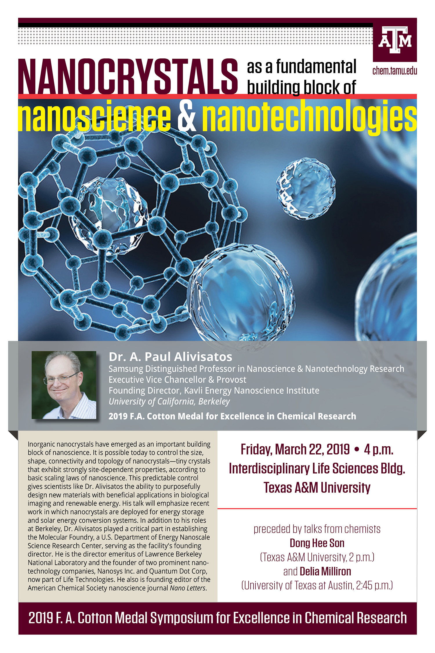 Poster featuring a headshot of Dr. Paul Alivisatos and molecules to promote his lecture