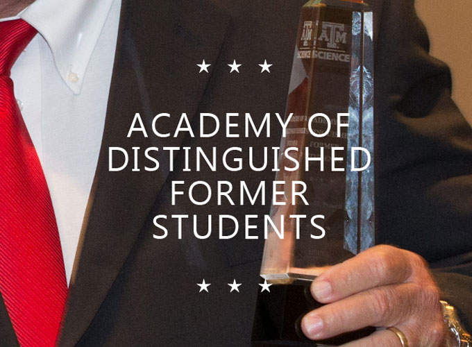 Academy of Distinguished Former Students text overlaid on a recipient holding a glass trophy