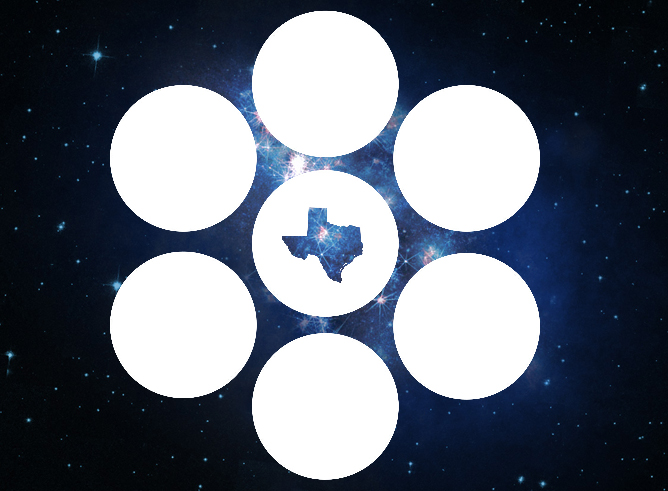 Graphic of seven white dots with Texas in the center overlaid on the starry night sky