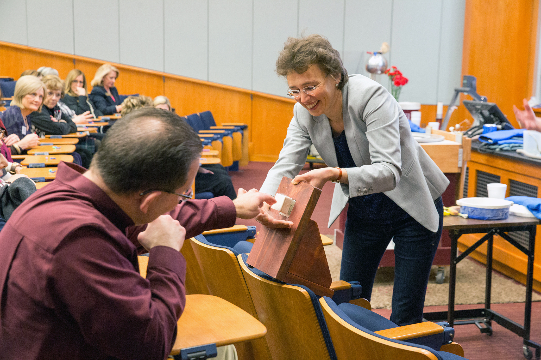 Dr. Tatiana Erukhimova enlists crowd participation in a Physics Show experiment