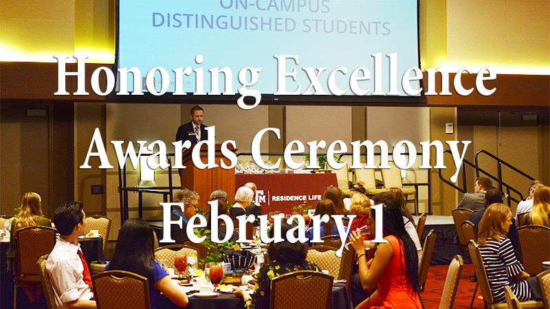 Honoring Excellence Awards Ceremony February 1 text overlaid on a dinner reception on campus
