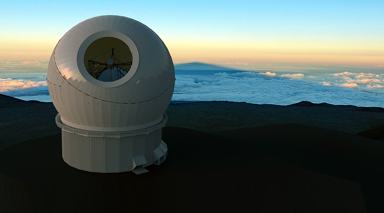 The Maunakea Spectroscopic Explorer, an optical telescope, at sunset
