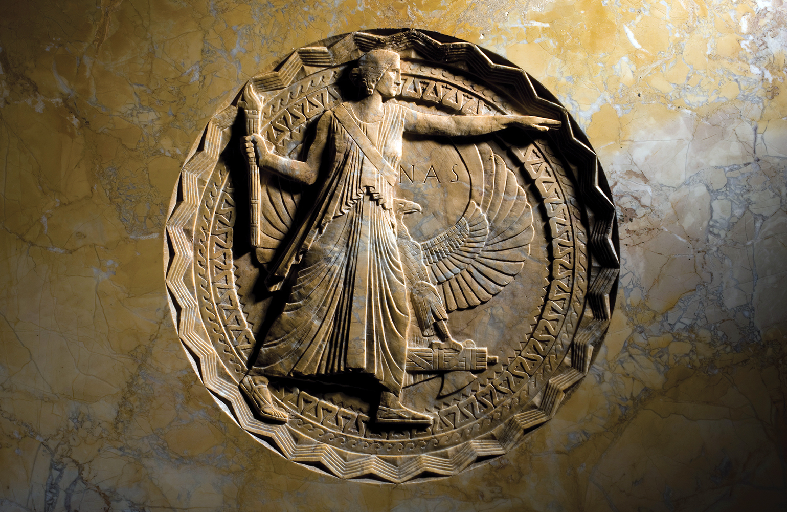 Sculpture of the NAS Seal in bronze