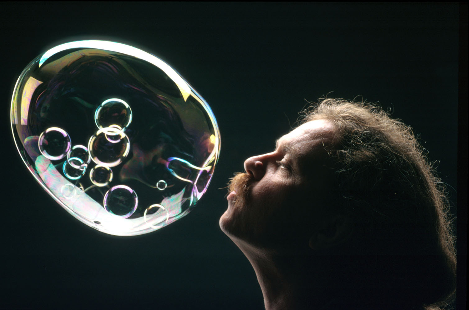 America's Bubble Guy Tom Noddy blows an intricate bubble