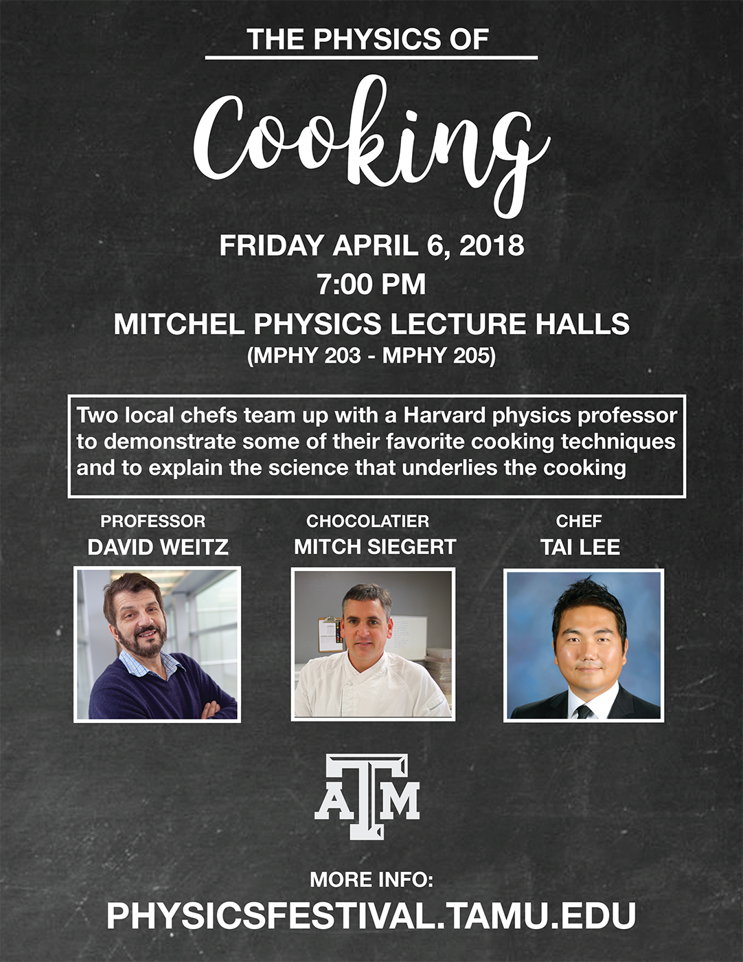 Poster featuring head shots of three chefs to promote The Physics of Cooking event