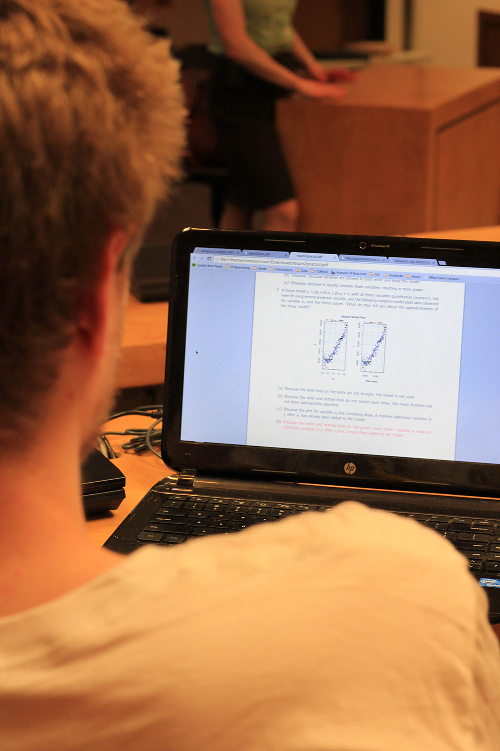 A statistics student reads a document on his laptop