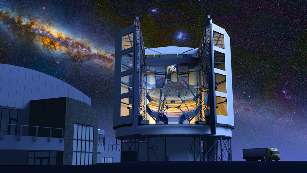 Artist's rendering of the Giant Magellan Telescope seen at night