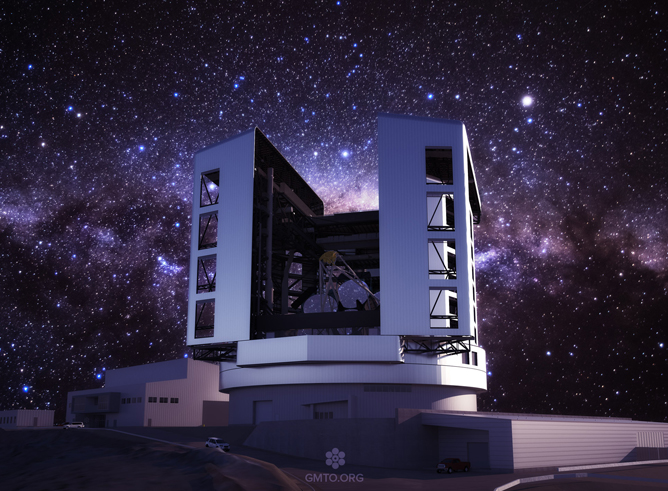 Latest design of the Giant Magellan Telescope enclosure, telescope and site at Las Campanas Observatory in Chile, with a night sky background.