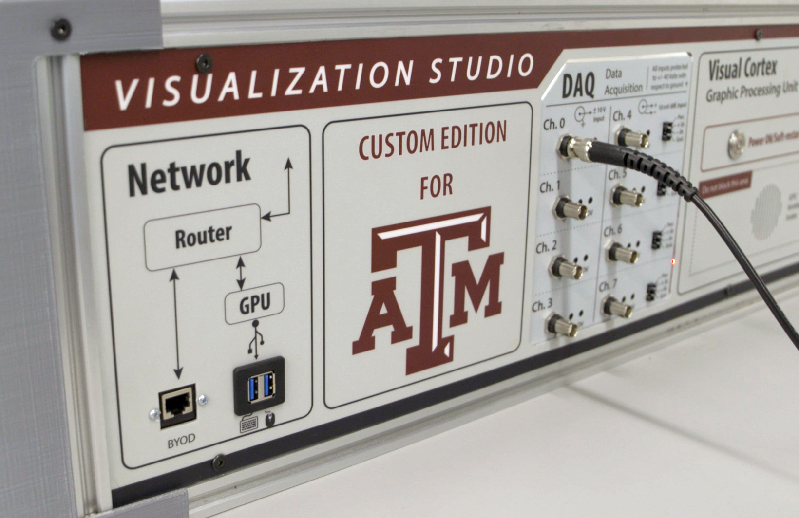 Close-up of the information panel that graces each laboratory station custom-designed and branded for Texas A&M
