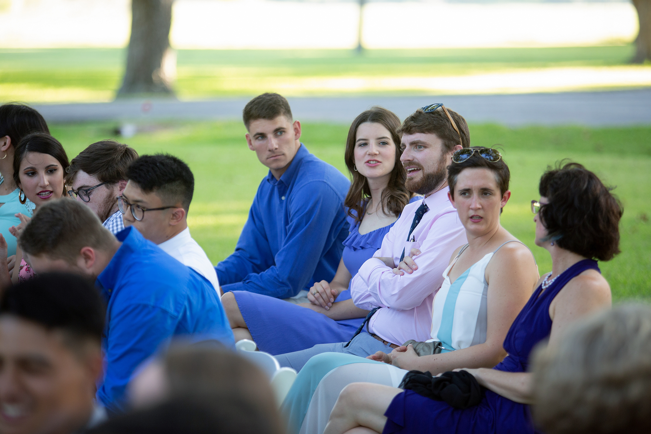 Guests at the August 17, 2019, wedding between May 2019 Texas A&M chemistry graduates Julia Santell and Josiah Day