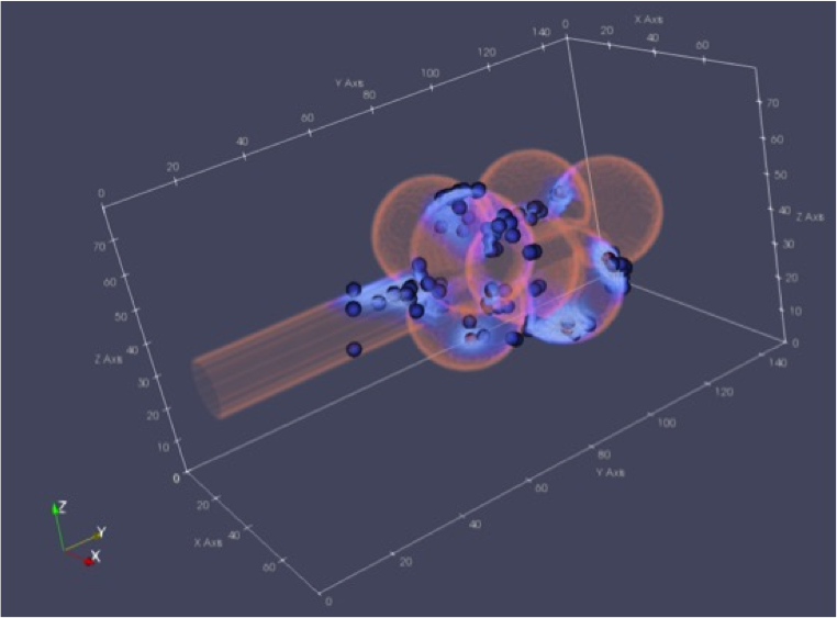 3-D graph showing large pink spheres and small blue spheres