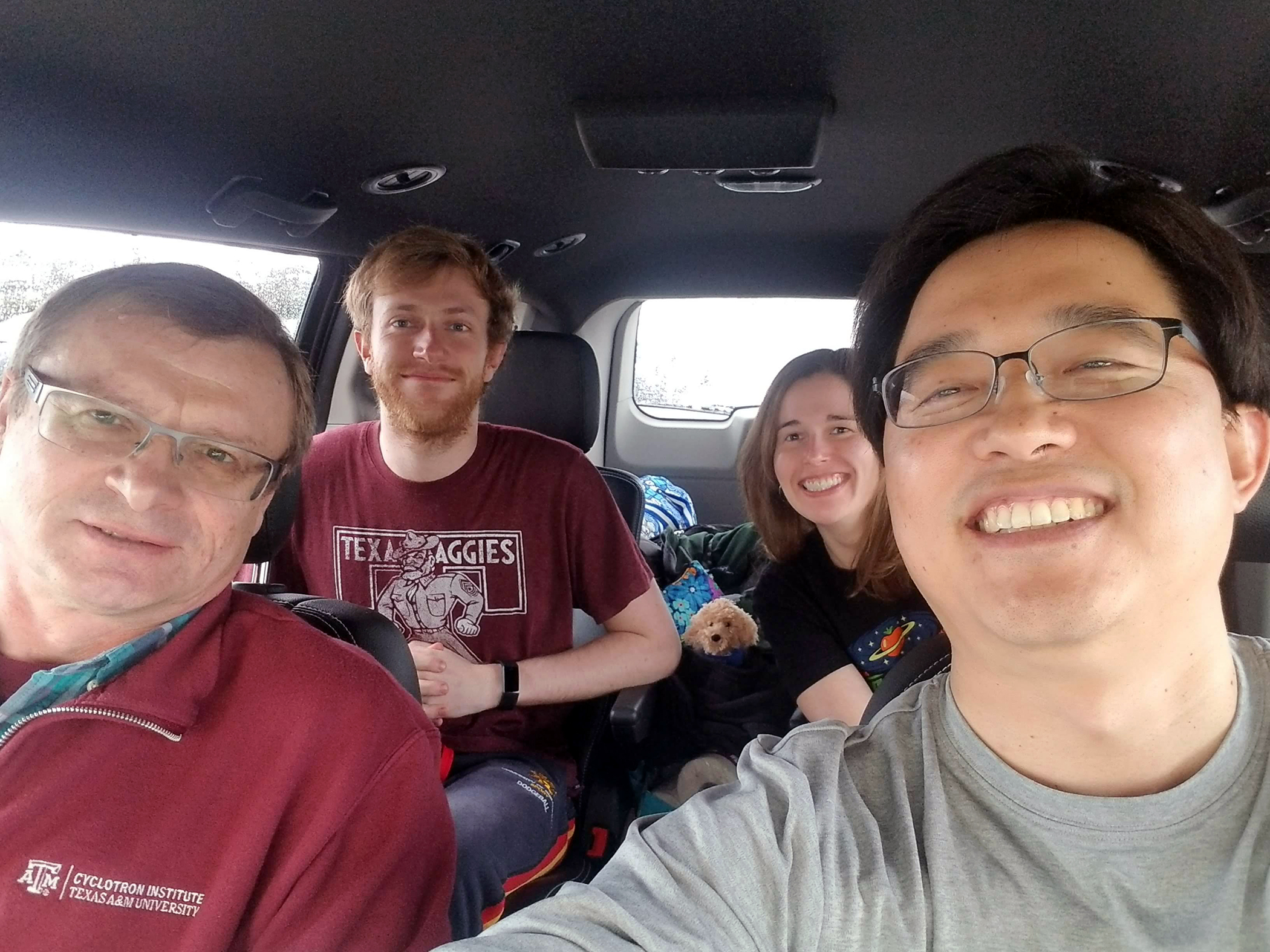 Texas A&M University's Texas Active Target, or TexAT, particle detector collaboration is all smiles as they prepare to return to College Station following a successful trip to Ohio University's John E. Edwards Accelerator Laboratory