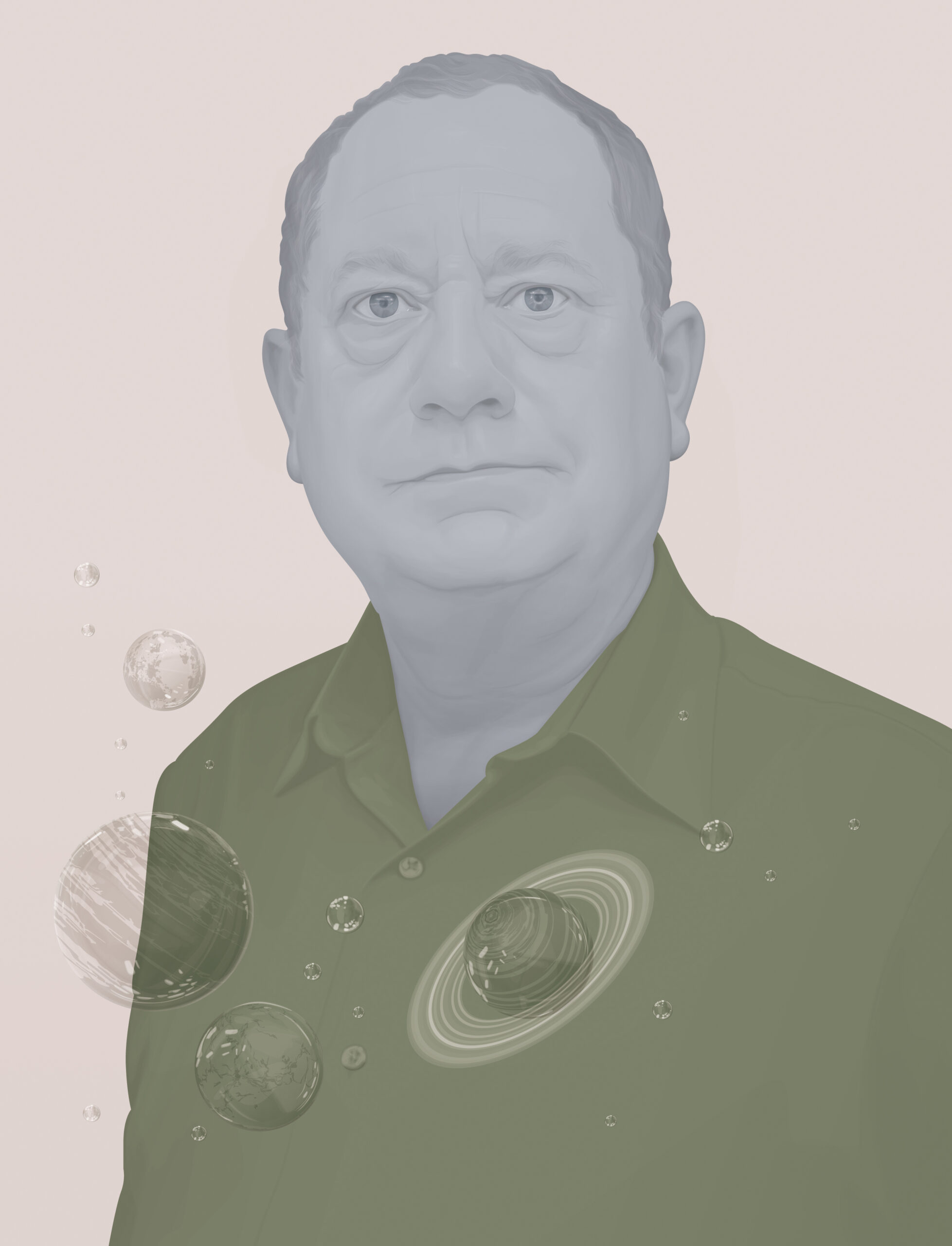 Illustration depicting Texas A&M astronomer Robert Kennicutt in RGB tones with a planetary overlay at bottom left of the frame