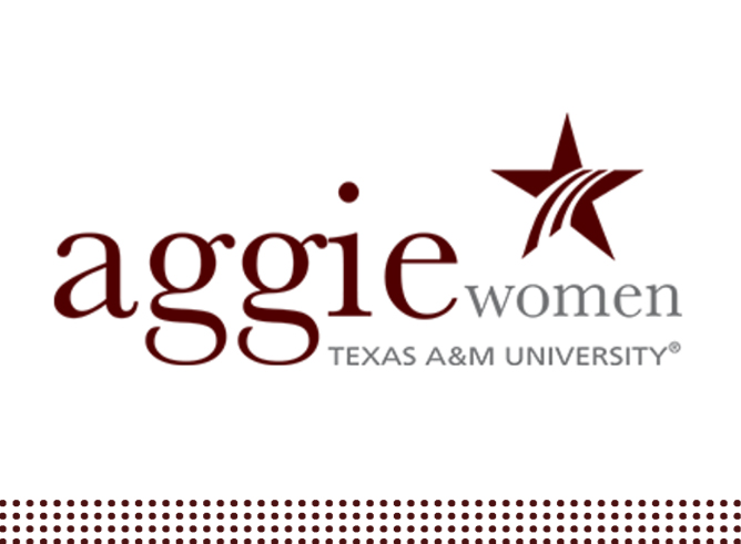 Graphic of the Aggie Women Network logo featuring maroon and gray lettering and a maroon star on a white background