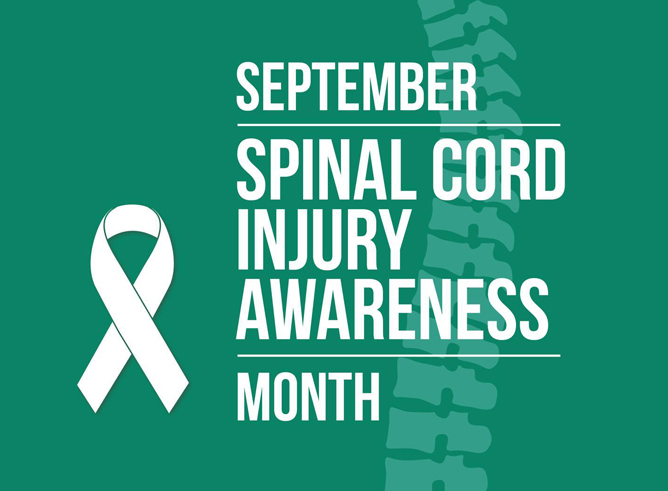 Graphic promoting September as Spinal Cord Injury Awareness Month featuring white ribbon and typography on a green background